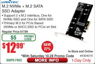 Vantec M.2 NVMe + M.2 SATA SSD PCIe X4 Adapter $12.99 AC shipped @ Fry's 10/28 only
