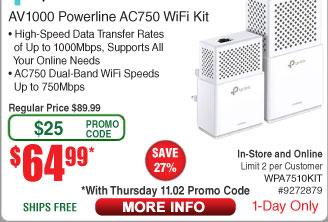TP-Link AV1000 Gigabit Powerline ac Wi-Fi Kit $64.99 AC shipped @ FRy's 11/2 only