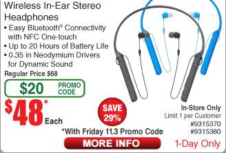 Sony C400 (WIC400) Wireless Behind-Neck In Ear Headphone $48 A/C B&M @ Fry's