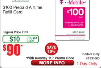 TMobile $100 Prepaid Card for $90 BM AC @ Fry's 11/7 only