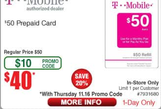 TMobile $50 Prepaid Card for $40 BM AC @ Fry's 11/16 only