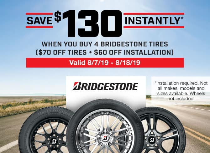Bridgestone @ Costco save $130 for a set of 4 tires from 8/7 to 8/18