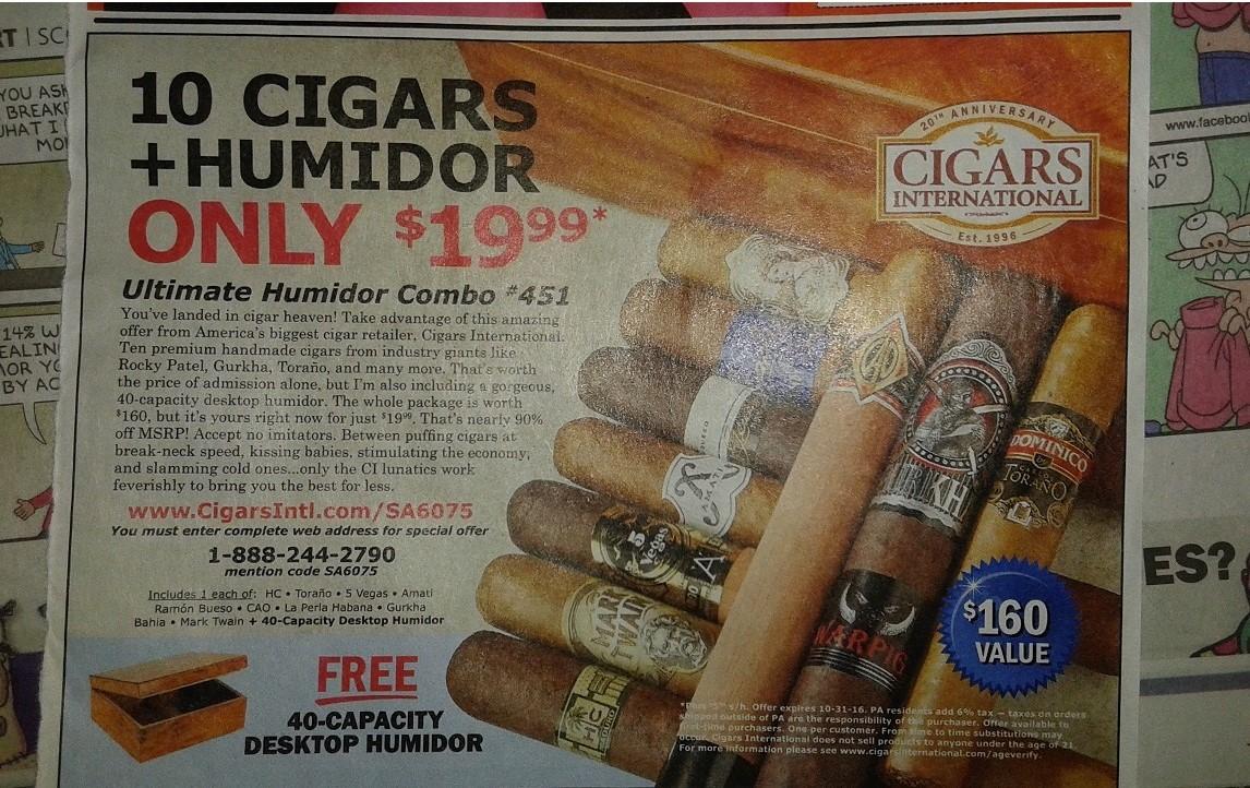 Cigars international Ultimate Humidor Combo #451 10 cigars and humidor for $19.99 plus shipping.