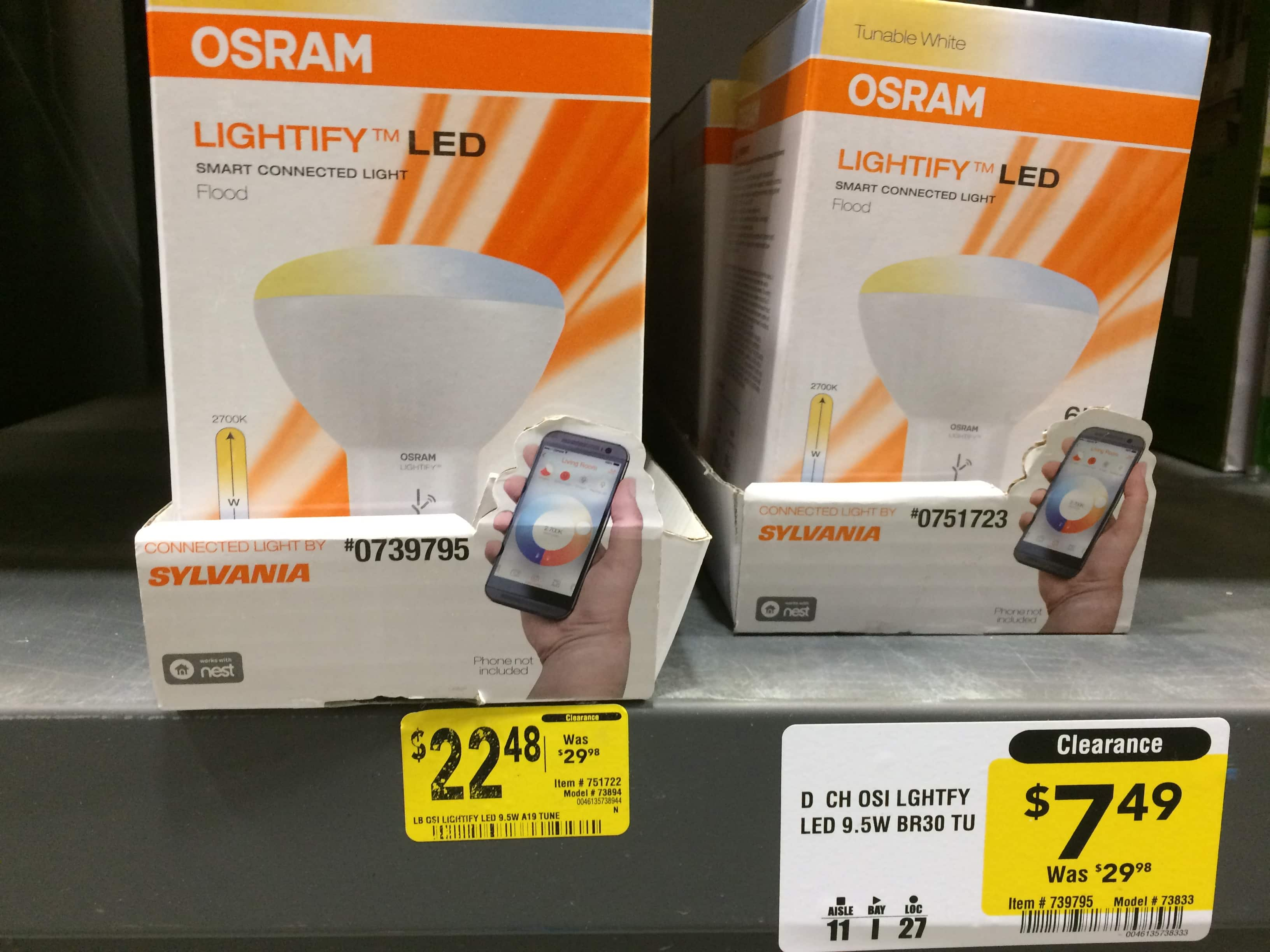 SYLVANIA LIGHTIFY 65W Dimmable-Adjustable Ktemp BR30 LED SMART Flood Light Bulb - $7.49 or lower at Lowe's - YMMV