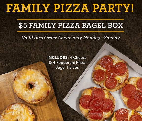 Einstein Bros Bagels Reward: $5 Family Pizza Bagel Box (4/19 - 4/25) YMMV