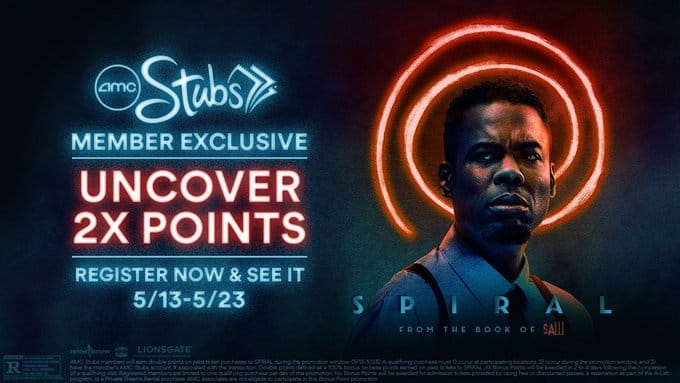 AMC Stubs Members: Double Points for Spiral Movie Ticket Purchase (5/13 - 5/23)