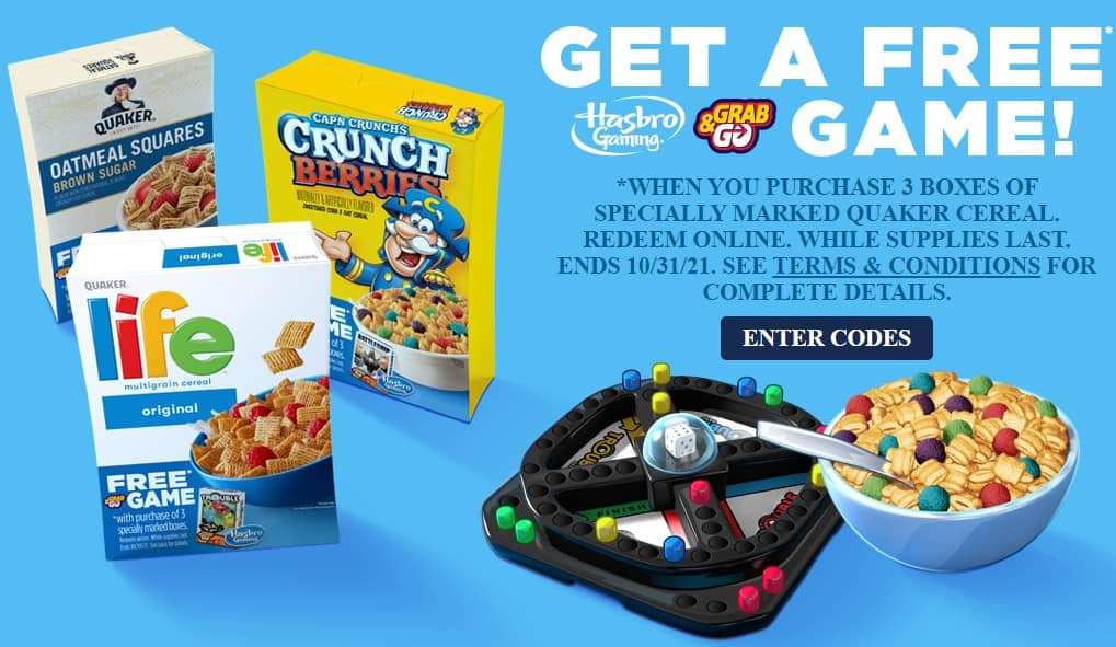 Buy 3 Specially Marked Quaker Cereals, Get Free Grab & Go Hasbro Game (Battleship, Trouble, or Connect 4)