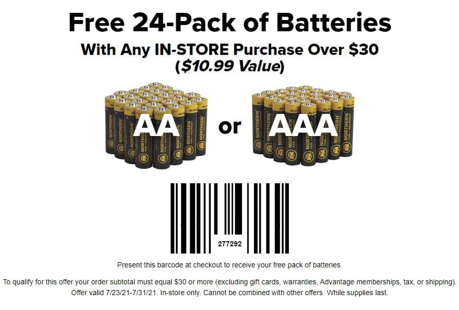 Northern Tool + Equipment: Free 24-Pack of Batteries (AA or AAA) w/ $30+ Purchase (in-store coupon)
