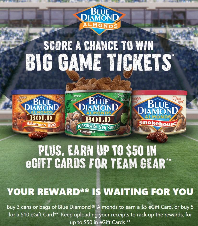 Blue Diamond Almonds: Buy 3 Participating Products, Get $5 eGift Card; Buy 5 Participating Products, Get $10 eGift Card