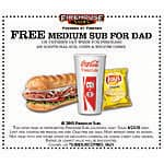 Firehouse Subs - Free Medium Sub for Dad when you purchase an additional sub, chips, & medium drink (6/21 only)