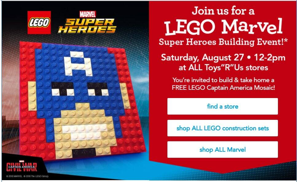 LEGO Marvel Super Heroes Building Event @ Toys R Us on August 27th (12-2pm). FREE LEGO Captain America Mosaic