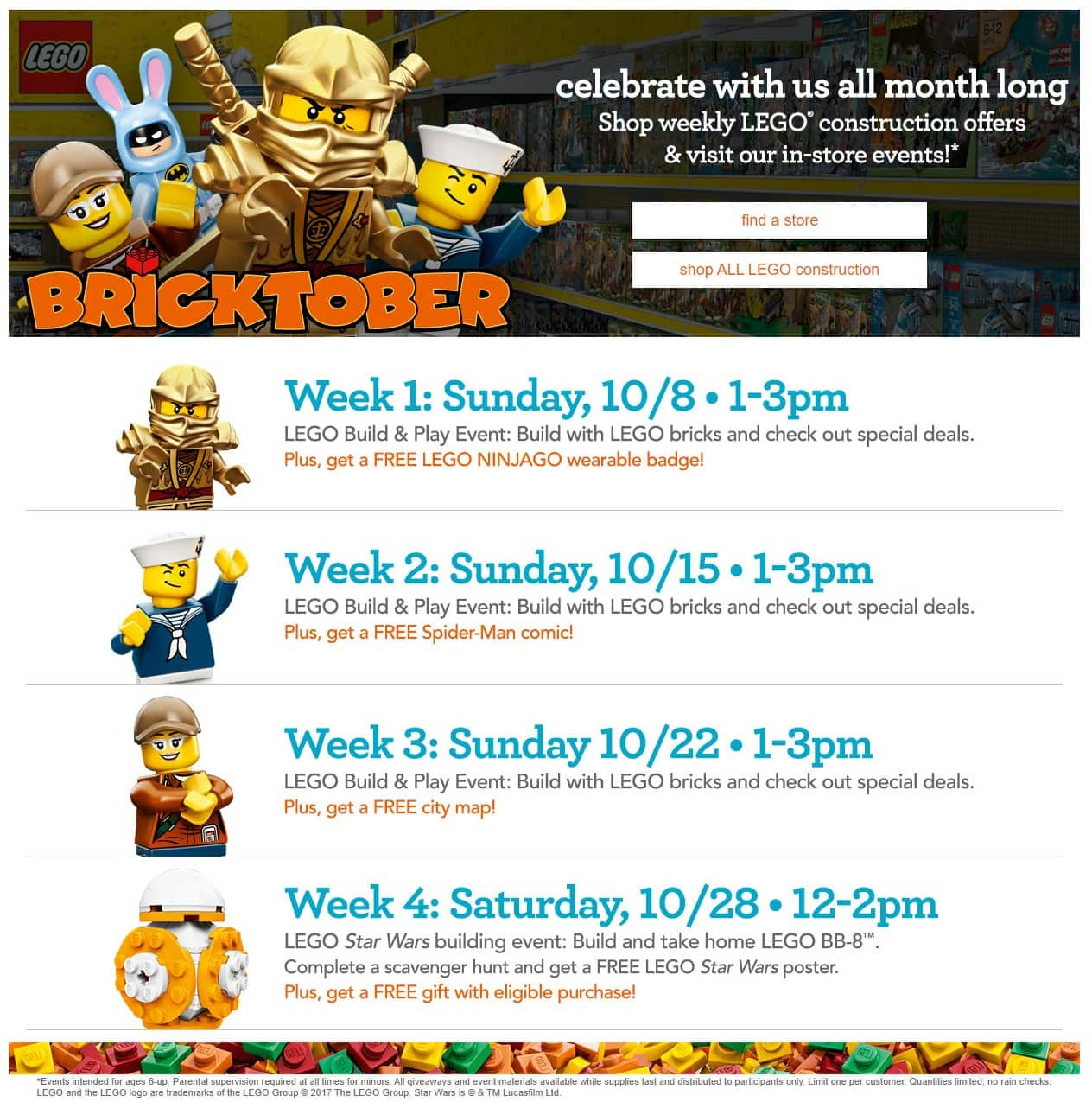 Toys R Us Bricktober Events for 10/8 , 10/15, 10/22. & 10/28. Free LEGO Ninjago Badge, Spider-Man Comic, City Map, LEGO BB-8, & Star Wars Poster