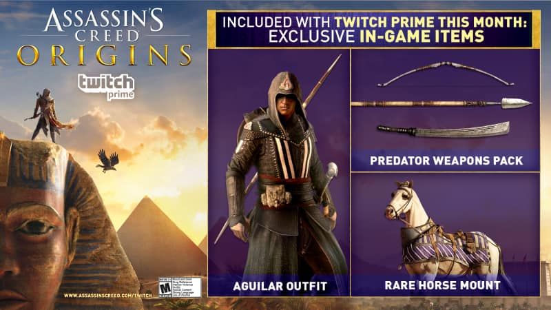 Twitch Prime Members: Free Exclusive Assassin's Creed Origins In-Game Loot (Xbox One, PS4, & PC) on October 27th