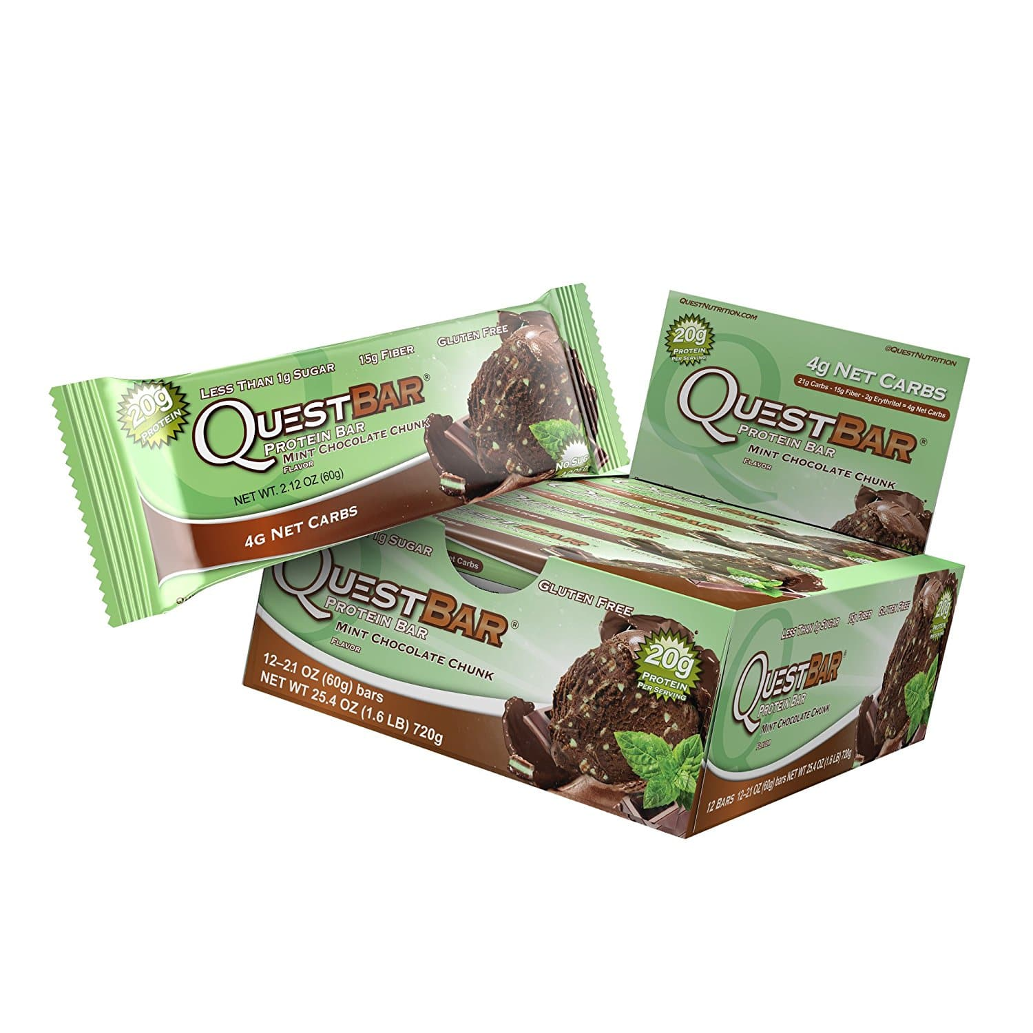 675930e23c80 12-Ct of 2.1oz Quest Nutrition Protein Bar (Mint Chocolate Chunk ...