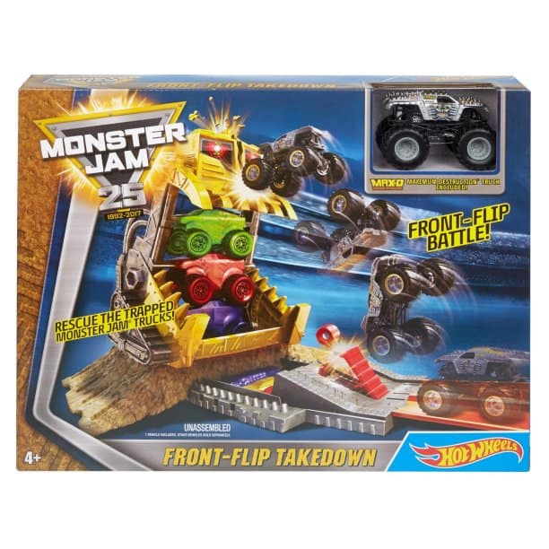 Hot Wheels: Monster Jam Front Flip Takedown Play Set for $8.98, Hot Wheels Minecraft Track Blocks Plains Coaster for $9.74.