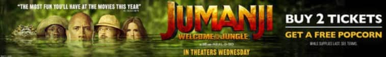 Buy 2 Tickets to see Jumanji: Welcome to the Jungle for Regal Cinemas @ Atom Tickets, Get a Free Large Popcorn