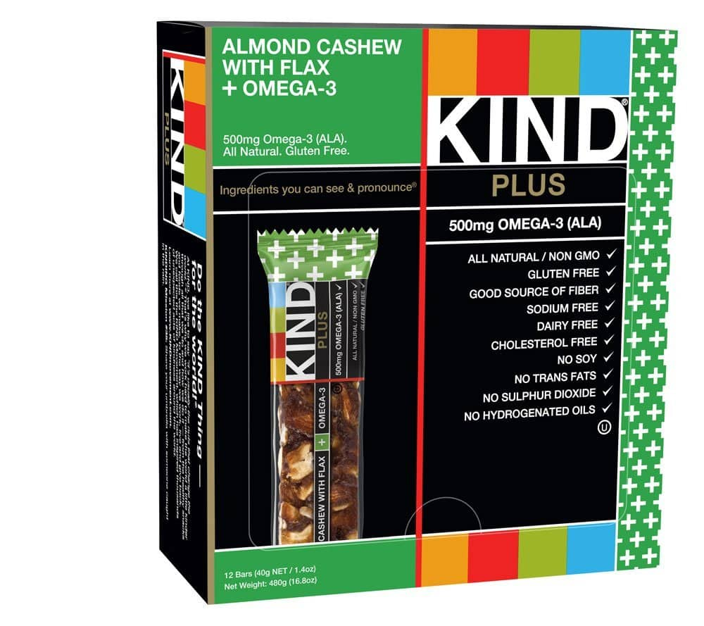 Add-on-Item: 12-Count Kind Bar Plus Almond Cashew PLUS Omega-3 for $4.93
