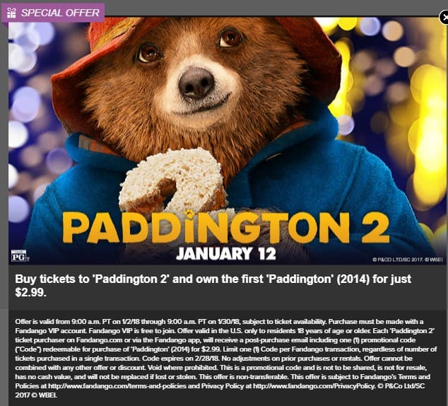 Buy a ticket to 'Paddington 2' from Fandango.com & you can buy 'Paddington' (2014) Digital HD movie for $2.99 on FandangoNow