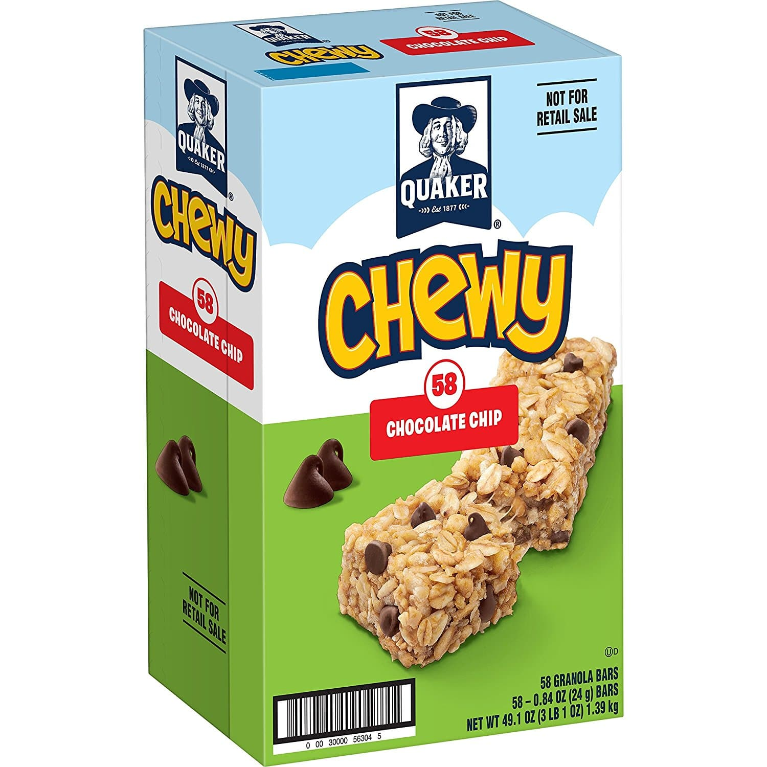 Add-on Item: 58-Count 0.84oz Quaker Chewy Granola Bars (Chocolate Chip) for $7.89