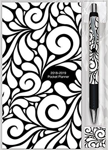 Black & White Swirls 2018 - 2019 Pocket Planner & Pen for $1.49 @ Amazon