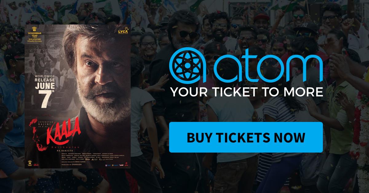 Atom Tickets: $10 off 2+ Kaala Movie Tickets