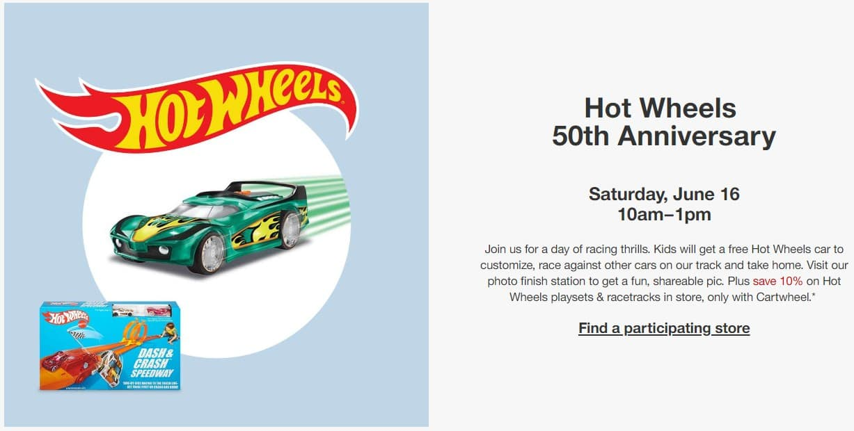 Target Store Hot Wheels 50th Anniversary Event - Free Hot Wheels Car on June 16th (10am - 1pm)