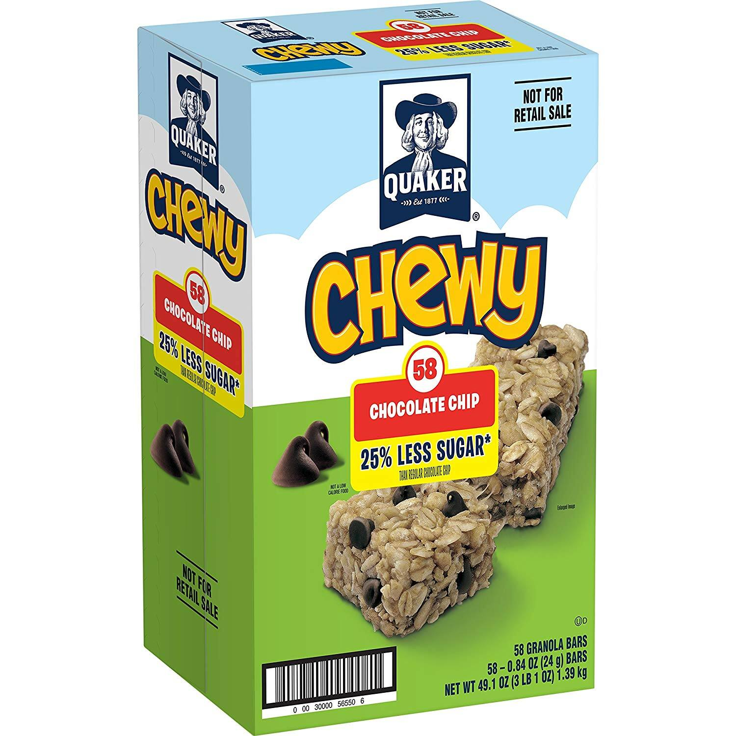 58-Count Quaker Chewy Granola Bars (25% Less Sugar, Chocolate Chip) for $5.84