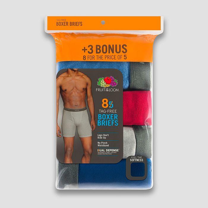 0124fad4fd59 8-Pack Men's Fruit of the Loom Boxer Briefs - Slickdeals.net