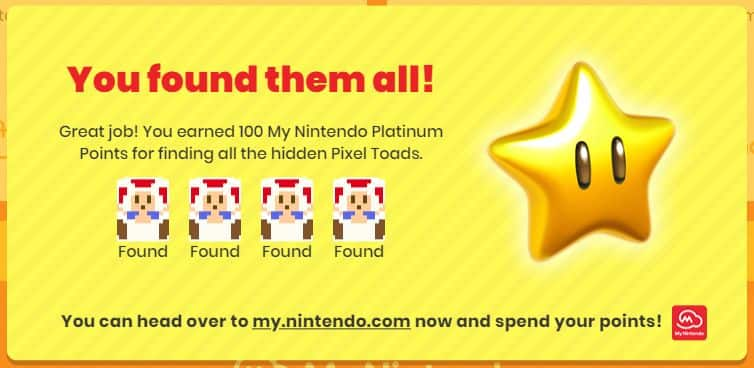 Free 100 My Nintendo Platinum Points - Find 4 Hidden Pixel Toads on Captain Toad: Treasure Tracker (Nintendo Switch) Website