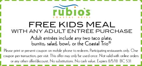 Rubio's Coastal Grill - Free Kids Meal w/ Any Adult Entree Purchase (Expires 8/5/18)