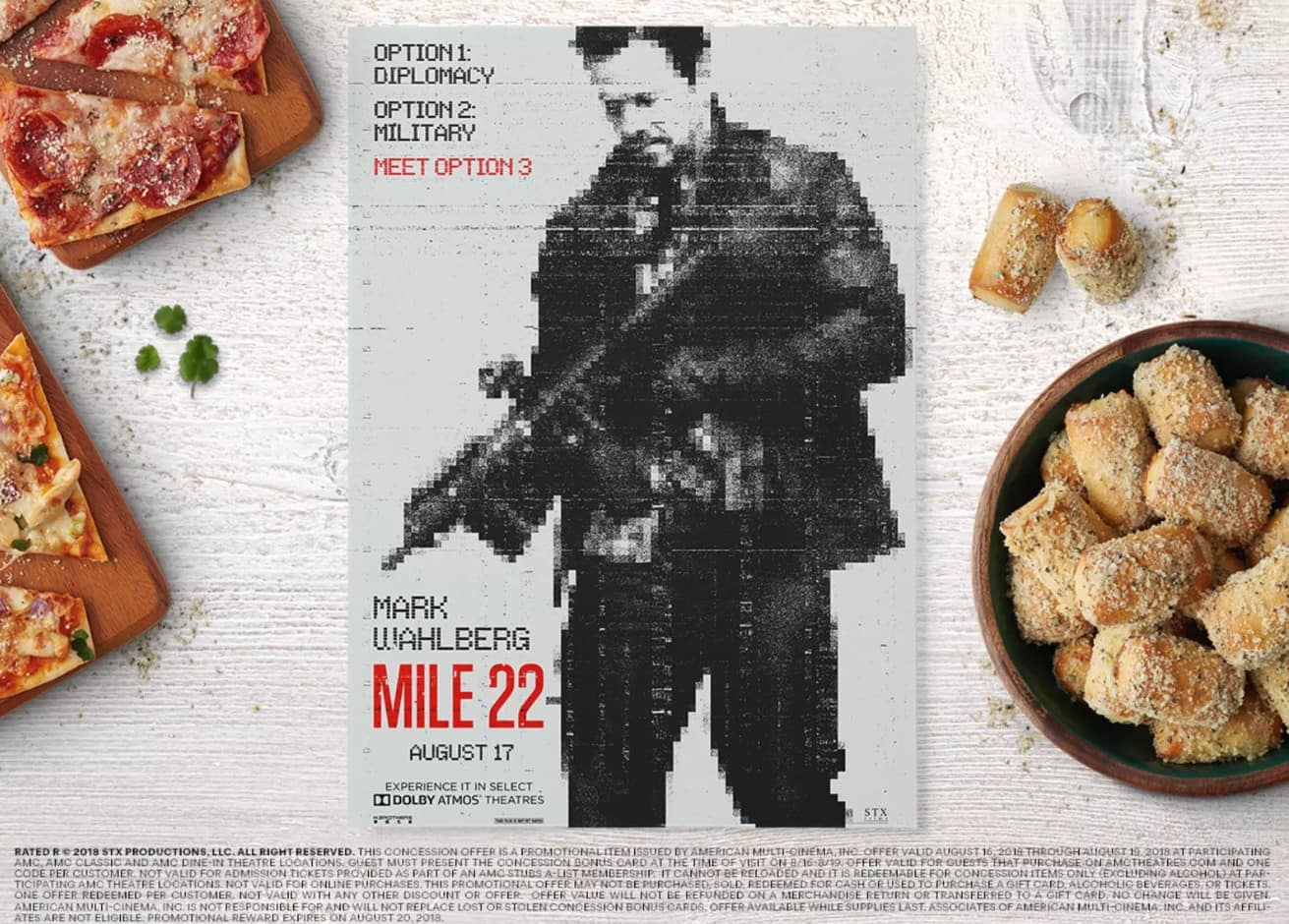 Free $5 AMC Theatres Concession Bonus Card w/ Mile 22 Movie Ticket Purchase @ AMCTheatres.com (8/16-8/19)