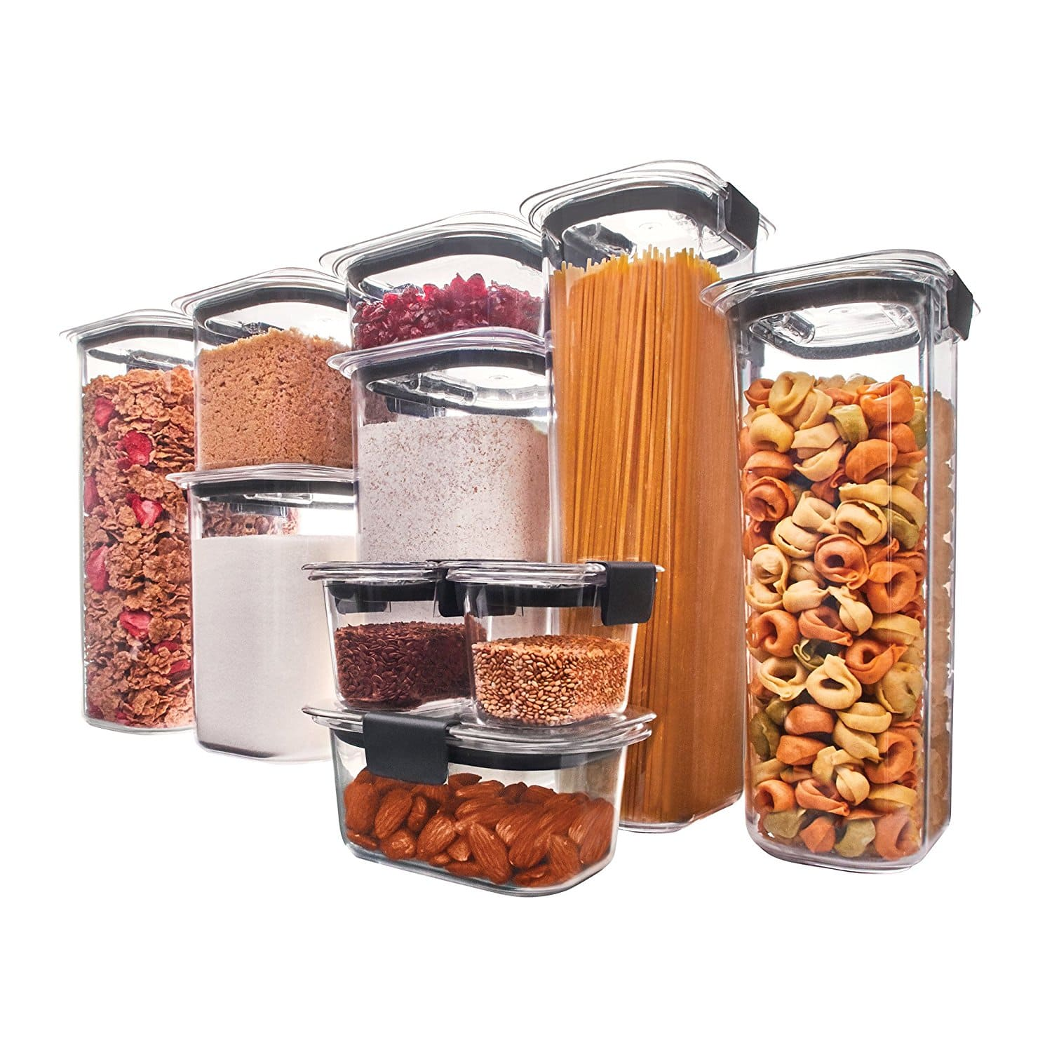 10 Piece Rubbermaid Brilliance Pantry Airtight Food Storage Containers W Lids