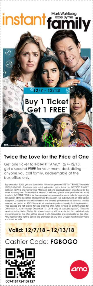 AMC Theatres: Buy 1, Get 1 Free Movie Ticket for Instant Family (12/7 - 12/13)
