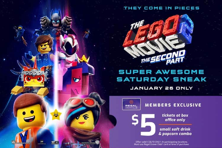 The LEGO Movie 2: The Second Part Early Access Screenings for $5 at Regal & some AMC Theatres on 1/26