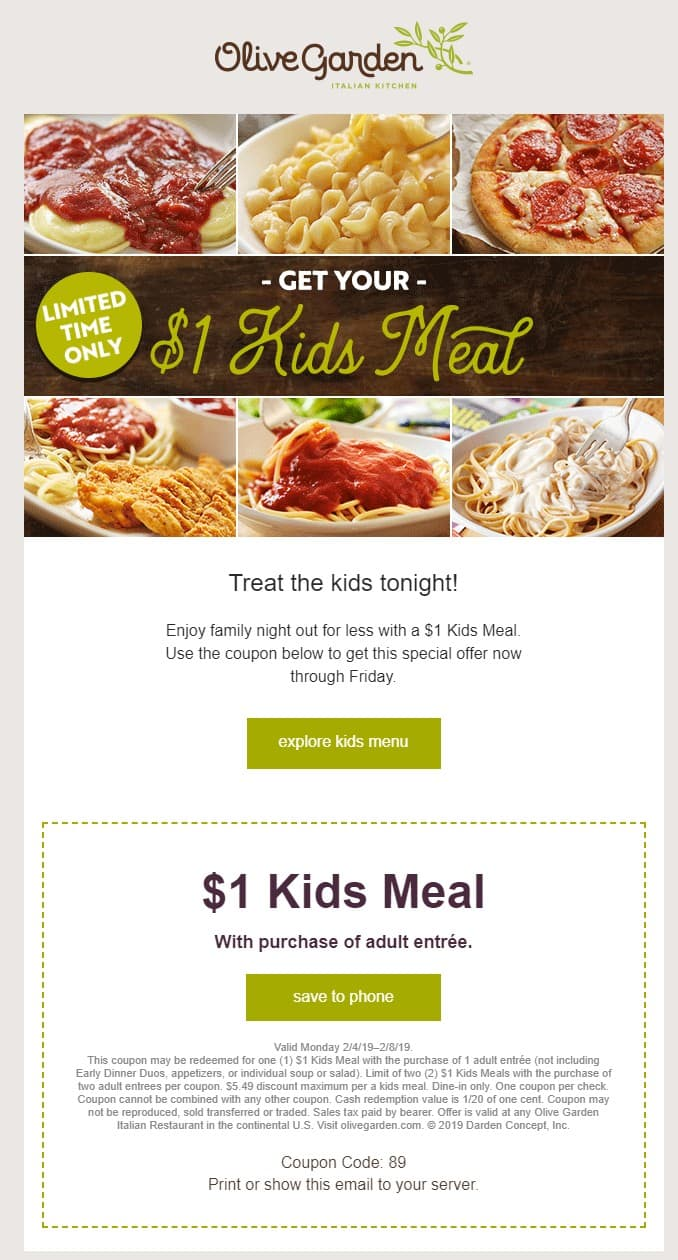 photograph relating to Olive Garden Printable Menu titled Olive Back garden - $1 Children Supper w/ Grownup Entree Invest in (Coupon