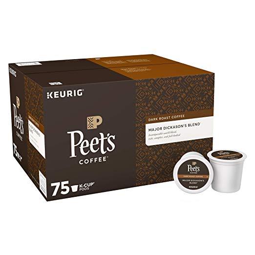75-Count Peet's Coffee Major Dickason's Blend Single-Serve K-Cups (Dark Roast) for $28.24 w/ S&S + Free Shipping