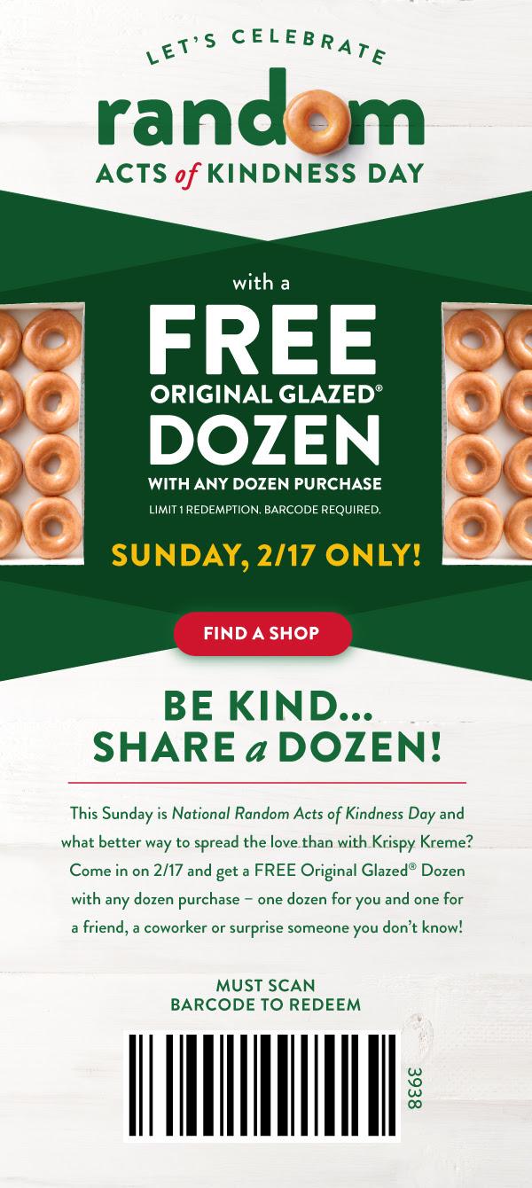 Krispy Kreme Doughnuts: Free Original Glazed Dozen w/ Any Dozen Purchase (2/17 Only)