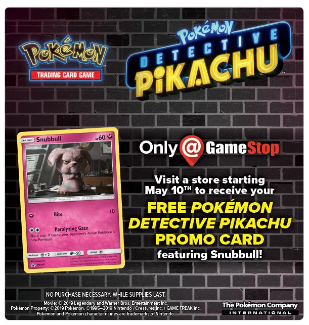 Gamestop Free Pokemon Detective Pikachu Promo Card Featuring