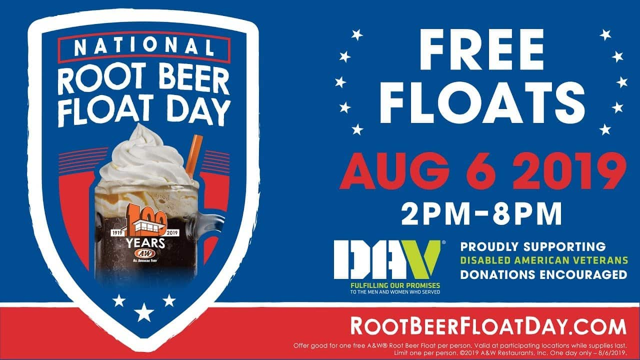 A&W Root Beer Restaurants: Free Small Root Beer Float on August 6th (2pm - 8pm)