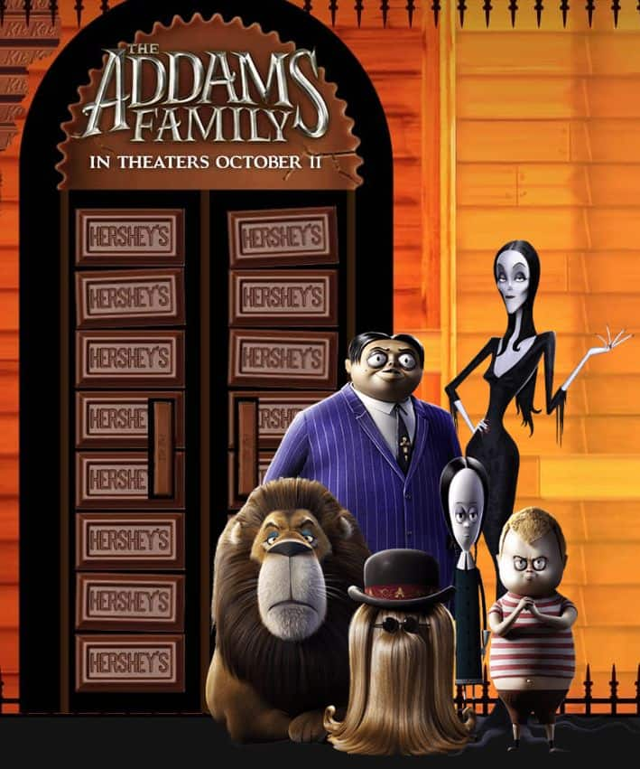 Free Movie Ticket for The Addams Family ($13 Off Fandango Promo Code) w/ Purchase of Specially Marked Hershey's Halloween Candy