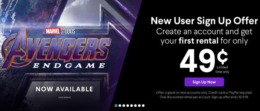 $0.49 VUDU Digital Movie Rental w/ New User Sign Up. Works for any 4K UHD & HDX Rentals. (Expires 10/1/19)