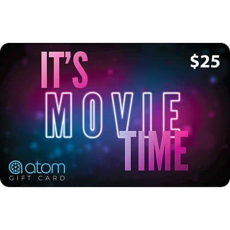 Sam's Club: Atom Tickets $50 Value Gift Cards (2 x $25) for $37.48 + Free Shipping