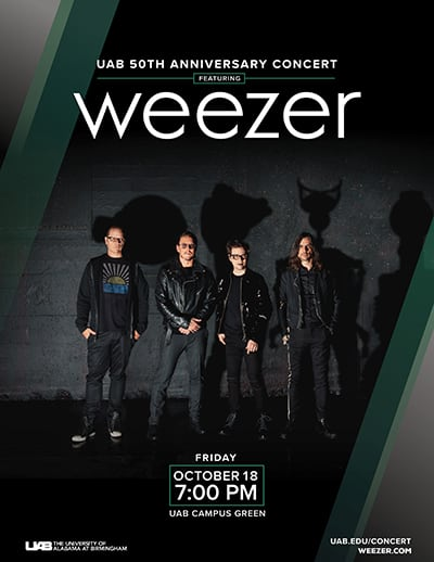 Free Weezer Concert on October 18th at University of Alabama at Birmingham. Tickets will be available on Sept 19th & 20th