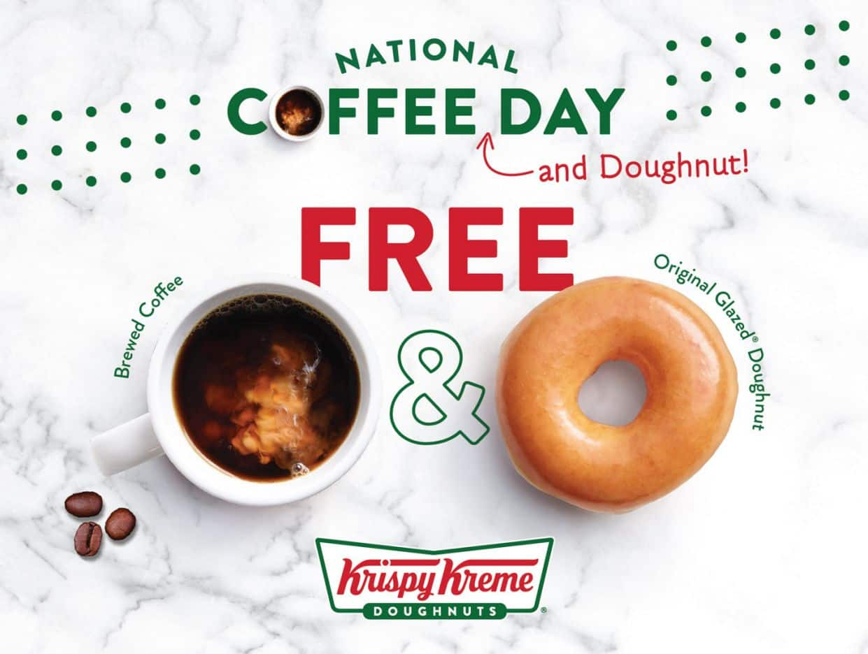 Participating Krispy Kreme Stores: Free Brewed Coffee & Original Glazed Doughnut on September 29th (National Coffee Day)