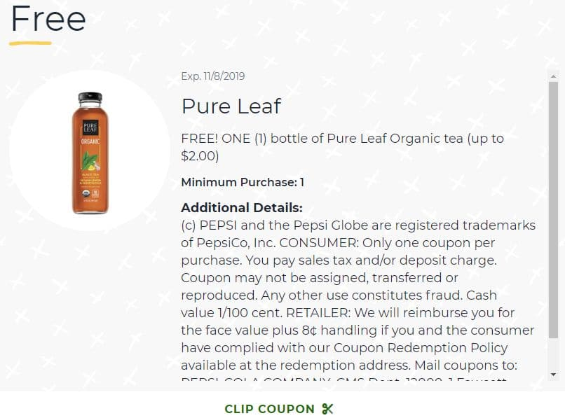 Publix Digital Coupon: Free Bottle of Pure Leaf Organic Tea (up to $2.00)