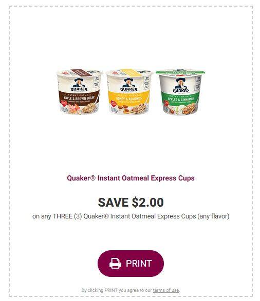 $2.00 Off Any 3 Quaker Instant Oatmeal Express Cups (Printable coupon)