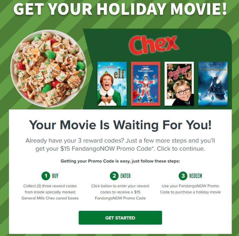 Buy 3 Specially Marked General Mills Chex Cereal, Get a $15 FandangoNOW Digital Movie Code (for Elf, The Polar Express, A Christmas Story, or National Lampoon's Christmas Vacation)
