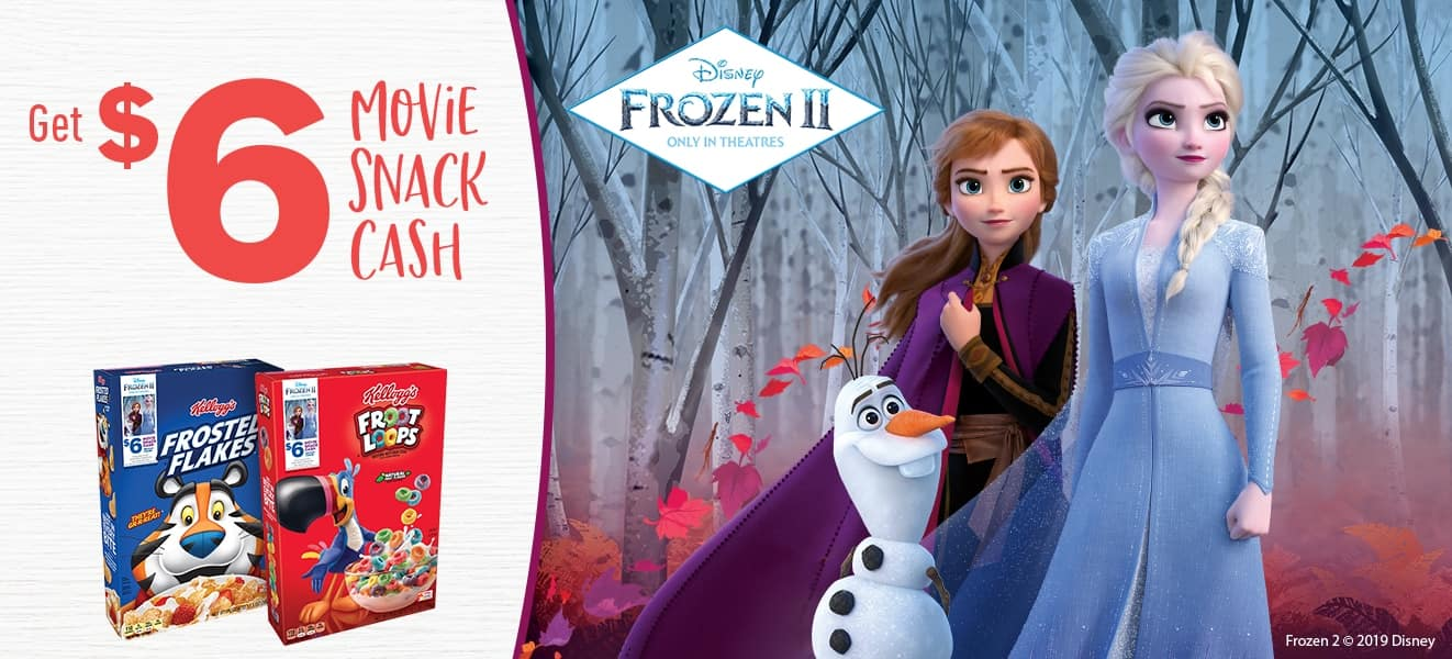 Free $6 Movie Theatre Snack Cash w/ Purchase of 3 Select Kellogg's Cereals