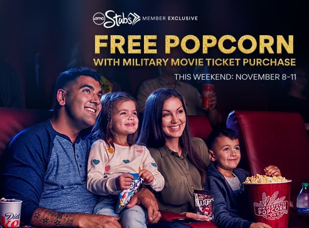AMC Theatres: Free Large Popcorn w/ Movie Ticket Purchase (for Active Duty, Retired Military, & Veterans) *Ends 11/11