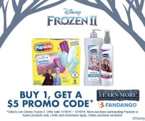 Purchase Select Popsicle or Suave Kids Products, Get $5 Off Disney's Frozen II Ticket